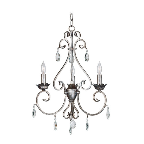 Kenroy Home Lighting Crystal Chandelier in Weathered Silver Finish 91343WS