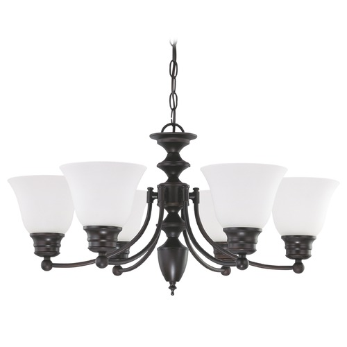 Nuvo Lighting Chandelier with White Glass in Mahogany Bronze Finish 60/3169
