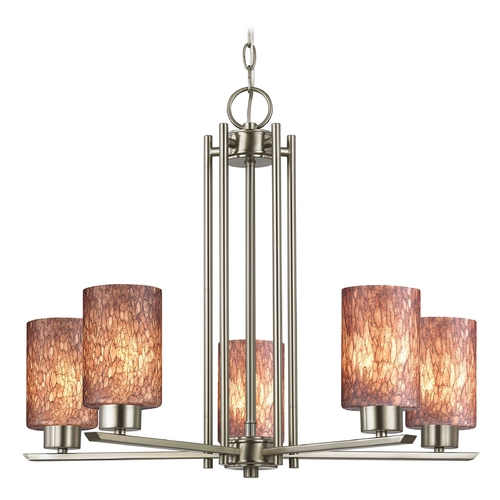 Design Classics Lighting Modern Chandelier with Brown Glass in Satin Nickel Finish 1120-1-09 GL1016C