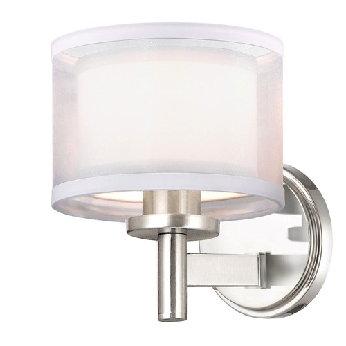 Dolan Designs Lighting Double Organza Wall Sconce 1 Lt Satin Nickel 1277-09