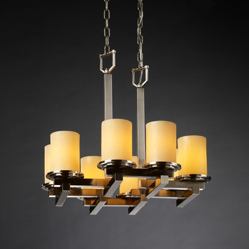 Justice Design Group Justice Design Group Candlearia Collection Chandelier CNDL-8770-10-AMBR-NCKL