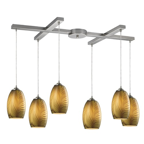 Elk Lighting Elk Lighting Tidewaters Satin Nickel Multi-Light Pendant with Bowl / Dome Shade 31630/6