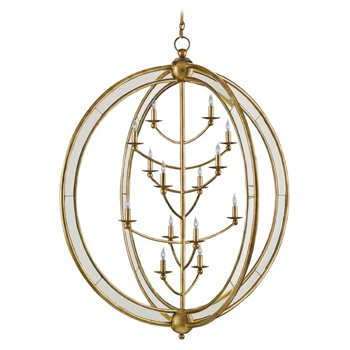 Currey and Company Lighting Currey and Company Aphrodite Gold Granello/antique Mirror Chandelier 9236