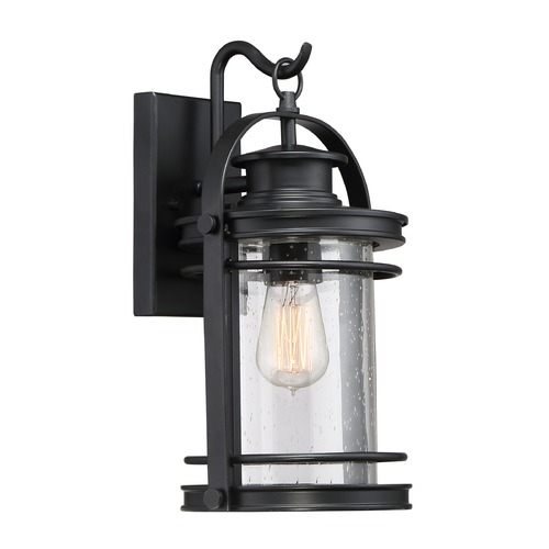 Quoizel Lighting Seeded Glass Outdoor Wall Light Black Quoizel Lighting BKR8408K