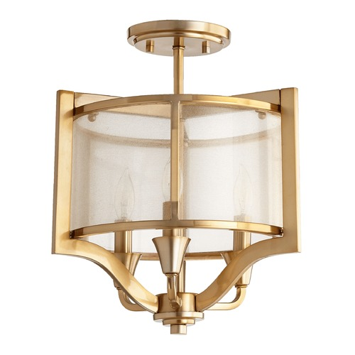 Quorum Lighting Quorum Lighting Highline Aged Brass Semi-Flushmount Light 332-3-80