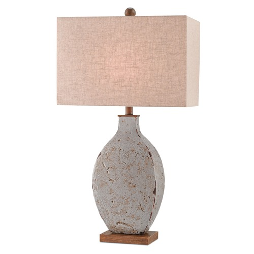 Currey and Company Lighting Currey and Company Bushcamp Rustic Gray/brushed Wood Table Lamp with Rectangle Shade 6236
