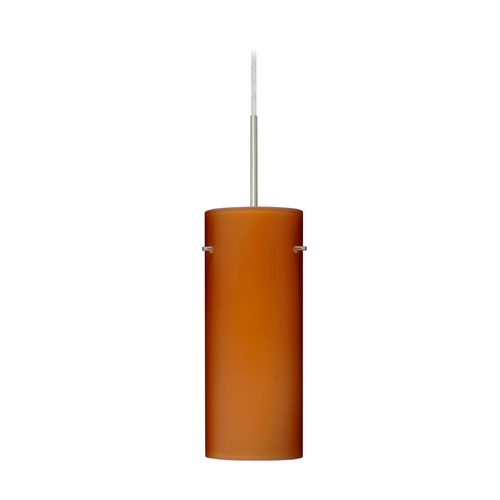 Besa Lighting Modern Pendant Light with Amber Glass in Satin Nickel Finish 1JT-412380-SN