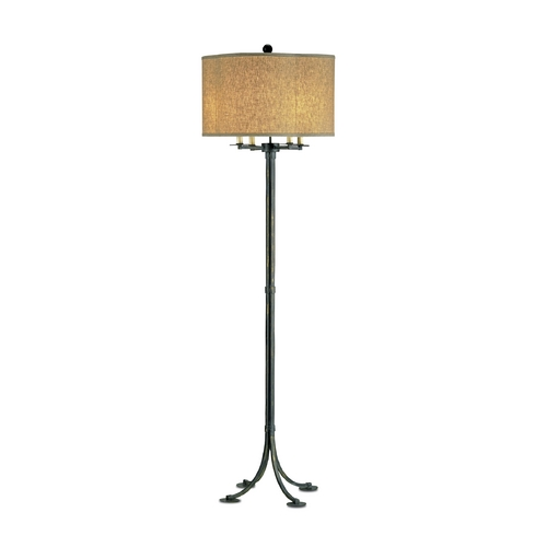 Currey and Company Lighting Floor Lamp with Beige / Cream Shade in French Black Finish 8034