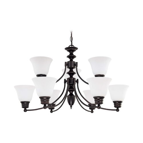 Nuvo Lighting Chandelier with White Glass in Mahogany Bronze Finish 60/3171
