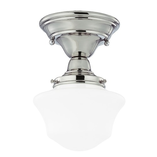 Design Classics Lighting 6-Inch Schoolhouse Ceiling Light in Polished Nickel Finish FCS-15 / GC6
