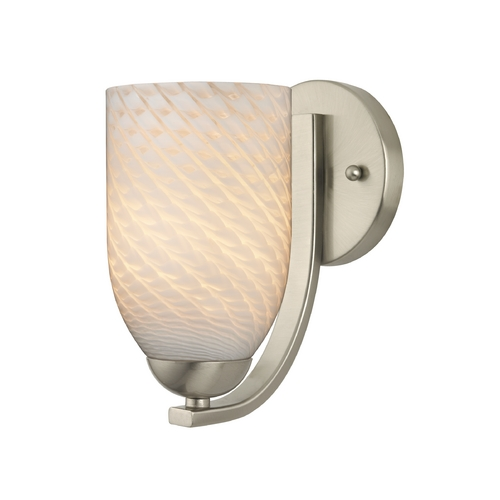 Design Classics Lighting Modern Sconce with White Art Glass in Satin Nickel Finish 585-09 GL1020D