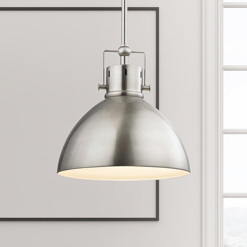 Design Classics Lighting Satin Nickel Dome Metal Pendant Light 2038-1-09
