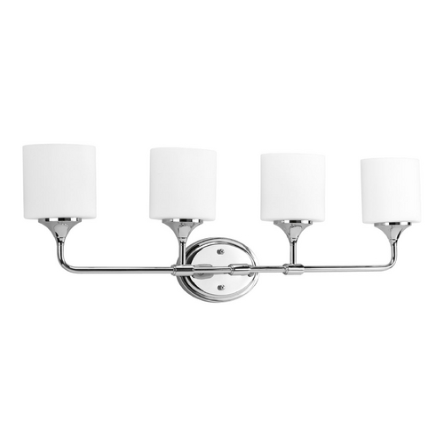 Progress Lighting Progress Bathroom Light with White Glass in Chrome Finish P2804-15