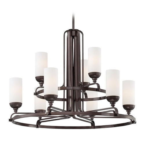 Metropolitan Lighting Chandelier with White Glass in Industrial Bronze Finish N6629-590