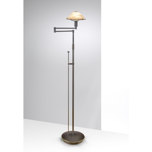 Holtkoetter Lighting Holtkoetter Modern Swing Arm Lamp with Alabaster Glass in Hand-Brushed Old Bronze Finish 9434 HBOB ABR