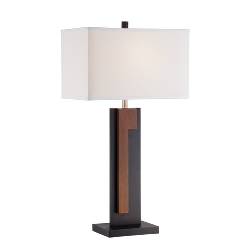 Lite Source Lighting Lite Source Govert Two Tone Dark Walnut Table Lamp with Rectangle Shade LS-22949