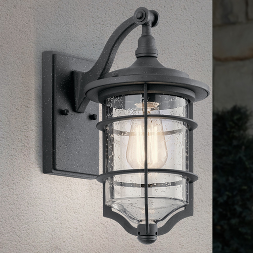 Kichler Lighting Seeded Glass Outdoor Wall Light Black Kichler Lighting 49126DBK
