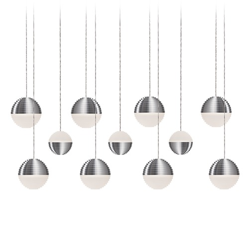 Kuzco Lighting Modern Brushed Nickel LED Multi-Light Pendant with Frosted Shade 3000K 4400LM MP10511-BN