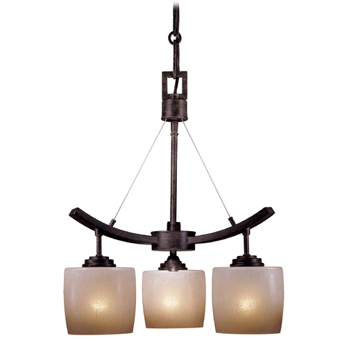 Minka Lavery Modern Mini-Chandelier with Beige / Cream Glass in Iron Oxide Finish 1185-357