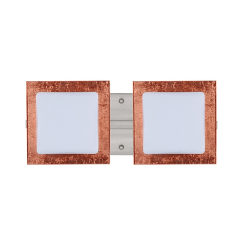 Besa Lighting Modern Bathroom Light with Copper Glass in Satin Nickel Finish 2WS-7735CF-SN