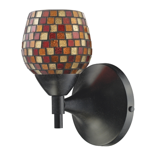 Elk Lighting Elk Lighting Art Glass Sconce Wall Light in Dark Rust Finish 10150/1DR-MLT