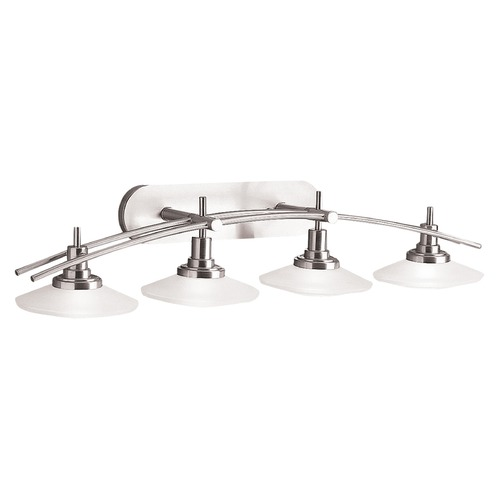 Kichler Lighting Kichler Bathroom Light with White Glass in Brushed Nickel Finish 6464NI