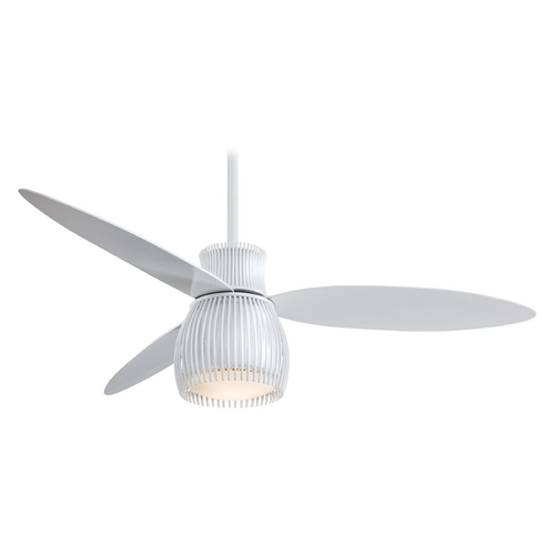 Minka Aire Modern Ceiling Fan with Light with White Glass in White Finish F824-WH