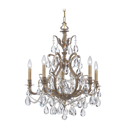 Crystorama Lighting Crystal Chandelier in Antique Brass Finish 5575-AB-CL-MWP