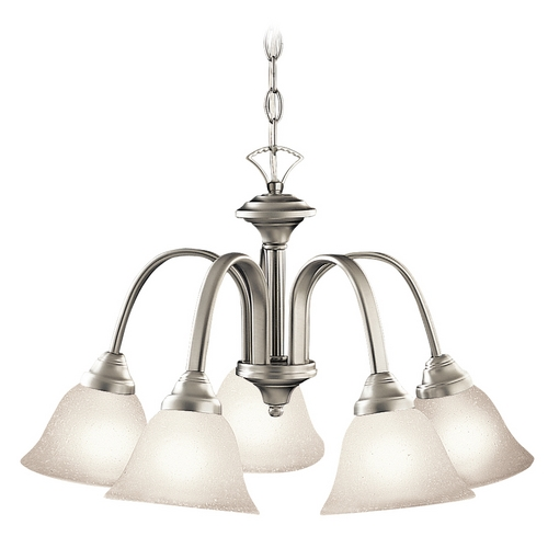 Kichler Lighting Kichler Chandelier with White Glass in Brushed Nickel Finish 2022NI