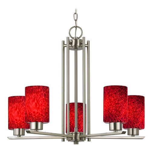 Design Classics Lighting Modern Chandelier with Red Glass in Satin Nickel Finish 1120-1-09 GL1018C