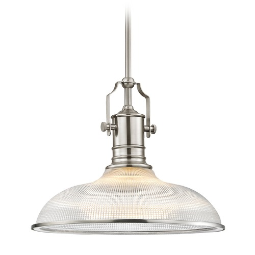 Design Classics Lighting Industrial Prismatic Pendant Light Satin Nickel 14.38-Inch Wide 1765-09 G1781-FC R1781-09
