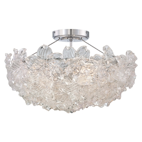 Metropolitan Lighting Modern Semi-Flushmount Light with Clear Glass in Chrome Finish N6630-77