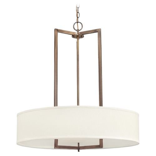 Hinkley Hinkley Hampton Brushed Bronze LED Pendant Light with Drum Shade 3206BR-LED