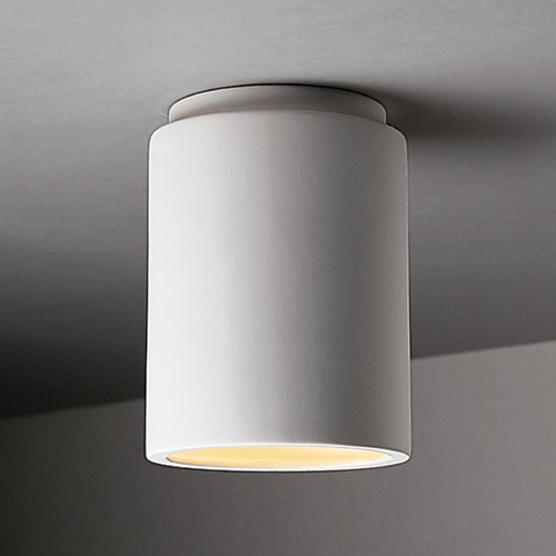 Justice Design Group Close To Ceiling Light with White Shade in Bisque Finish CER-6100W-BIS