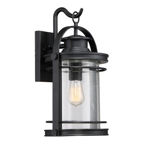 Quoizel Lighting Seeded Glass Outdoor Wall Light Black Quoizel Lighting BKR8410K
