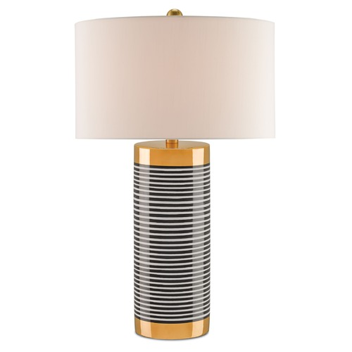 Currey and Company Lighting Currey and Company Hamish Gold/black and White Stripes/satin Brass Table Lamp with Bowl / Dome Shade 6257