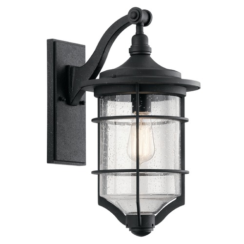 Kichler Lighting Seeded Glass Outdoor Wall Light Black Kichler Lighting 49127DBK