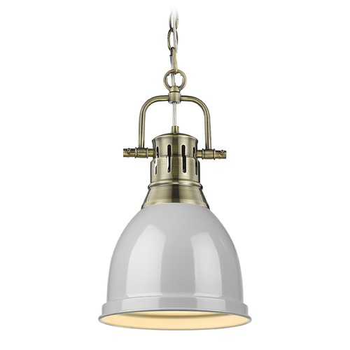 Golden Lighting Golden Lighting Duncan Aged Brass Mini-Pendant Light with Grey Shade 3602-SAB-GY