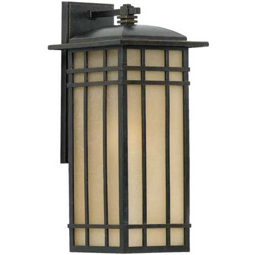 Quoizel Lighting Outdoor Wall Light with Amber Glass in Imperial Bronze Finish HCE8409IB