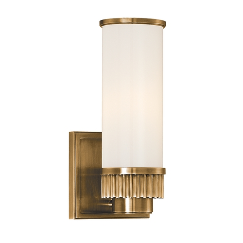 Hudson Valley Lighting Modern Sconce with White Glass in Aged Brass Finish 1561-AGB
