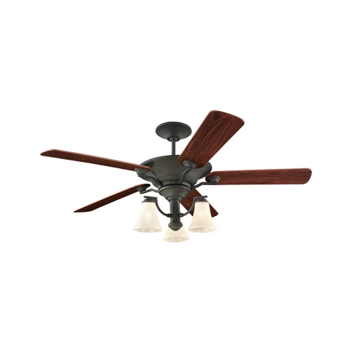 Sea Gull Lighting Ceiling Fan with Light with Beige / Cream Glass in Blacksmith Finish 15170B-839