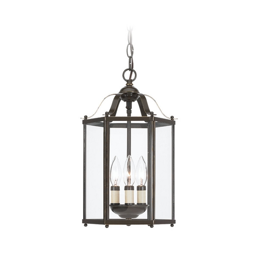 Sea Gull Lighting Mini-Pendant Light with Clear Glass in Heirloom Bronze Finish 5231-782
