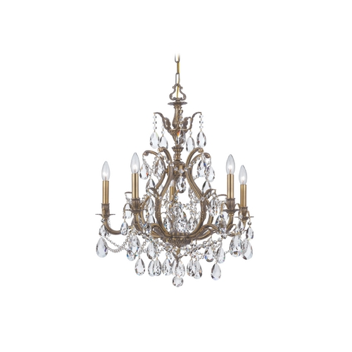Crystorama Lighting Crystal Chandelier in Antique Brass Finish 5575-AB-CL-S