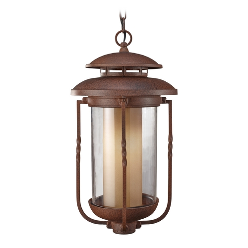 Feiss Lighting Outdoor Hanging Light with Beige / Cream Glass in Cinnamon Finish OL9211CN