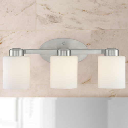 Dolan Designs Lighting Three-Light Bathroom Light Satin Nickel 19.25-Inch Wide 3433-09