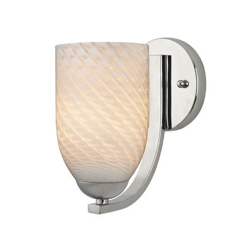 Design Classics Lighting Chrome Wall Sconce with White Art Glass 585-26 GL1020D