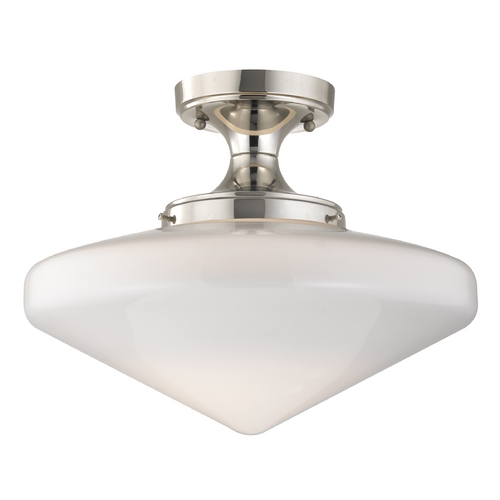 Design Classics Lighting 14-Inch Schoolhouse Ceiling Light in Polished Nickel Finish FES-15/ GE14
