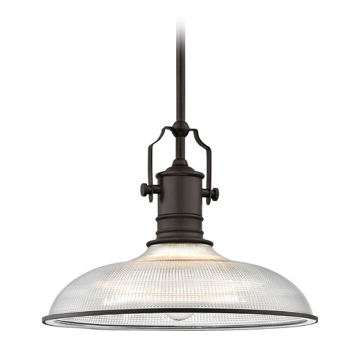 Design Classics Lighting Bronze Industrial Pendant Light Prismatic Glass 14.38-Inch Wide 1765-220 G1781-FC R1781-220