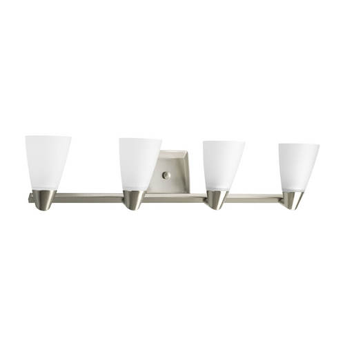 Progress Lighting Progress Bathroom Light with White Glass in Brushed Nickel Finish P2808-09