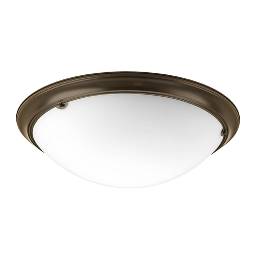 Progress Lighting Flushmount Light with White Glass in Antique Bronze Finish P3491-20EB